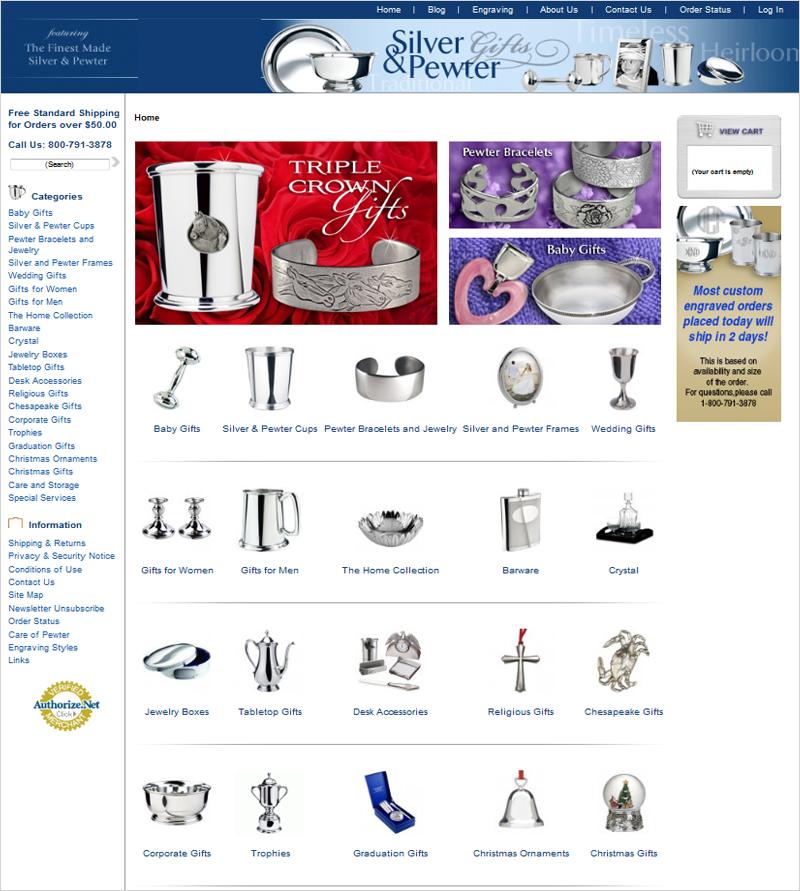 Интернет-магазин «Silver and Pewter Gifts»