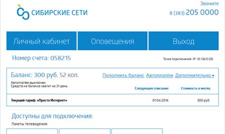 Создание личного кабинета абонента компании «Сибирские сети»
